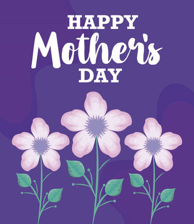 happy mother day card with flowers decoration vector illustration design Иллюстрация