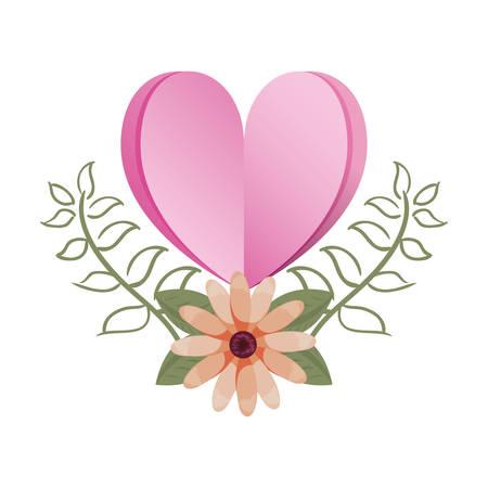 love romantic heart flowers decoration vector illustration