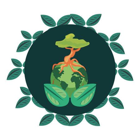 world tree foliage badge earth day vector illustration Illustration