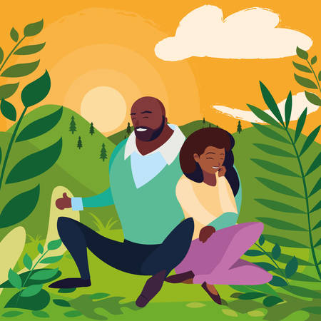black couple seated in the field vector illustration design Çizim