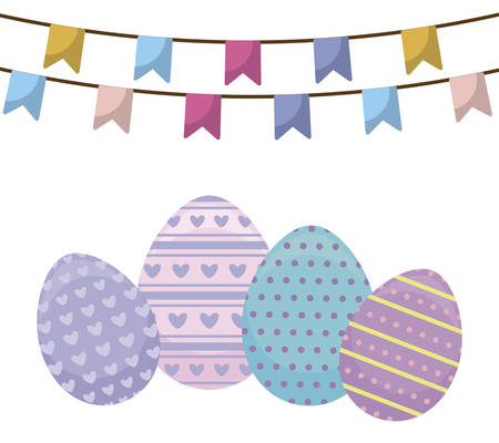 decorated eggs of easter with garlands hanging vector illustration design