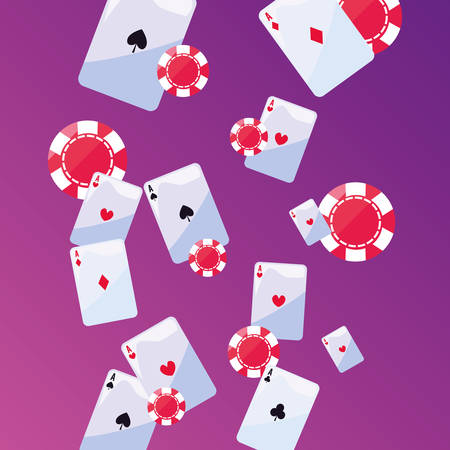 aces suit cards chips casino game bets vector illustration