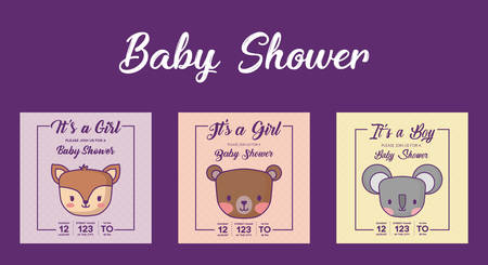 Icon set of baby shower invitations with cute animals over purple background, colorful design. vector illustration