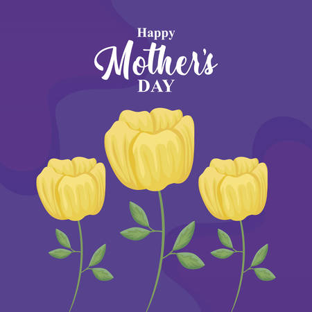 happy mother day card with flowers decoration vector illustration design 일러스트