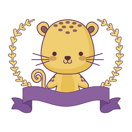 cute tiger animal with ribbon and branches of leafs vector illustration design  イラスト・ベクター素材