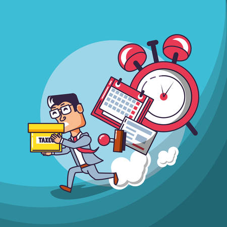 businessman with calendar reminder and set icons vector illustration design