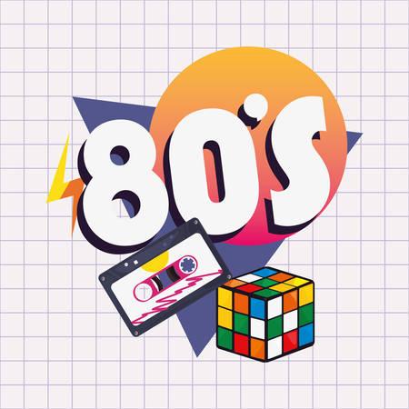 memphis 80s music cassette cube rubiks retro style vector illustration
