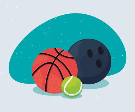 basketball bowling and tennis sport balls equipment vector illustration