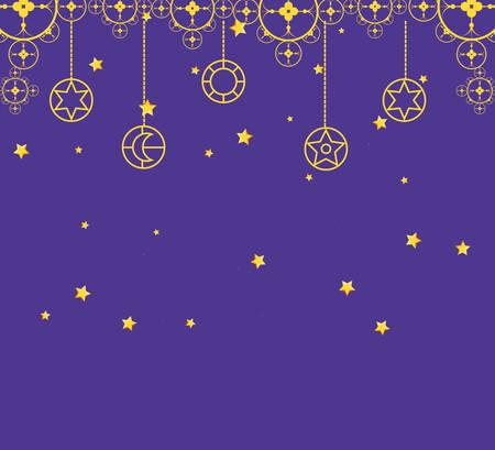 ramadan kareem decorative night with stars hanging vector illustration design