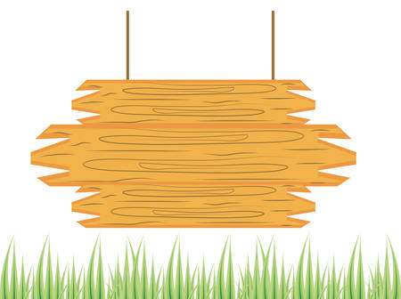 wooden label hanging with grass vector illustration design Ilustração