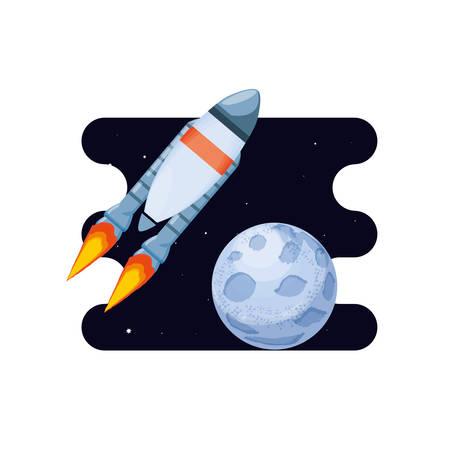 moon satellite with rocket space scene vector illustration design