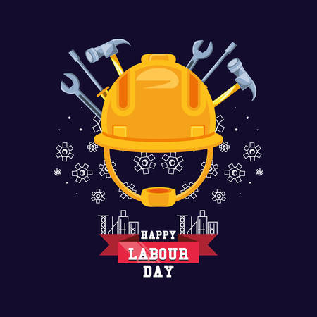 happy labour day with helmet security and tools vector illustration design