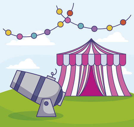 circus tent with cannon and garlands vector illustration design Ilustracja