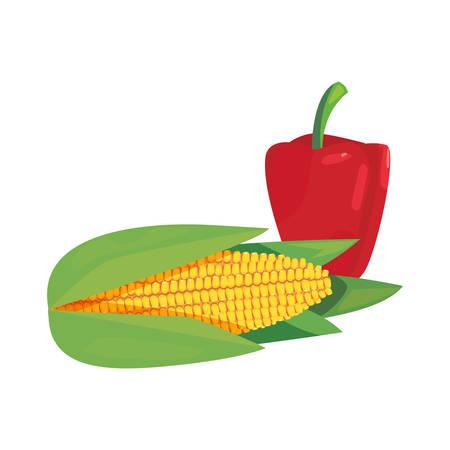 corn pepper bell fresh food vector illustration Illusztráció