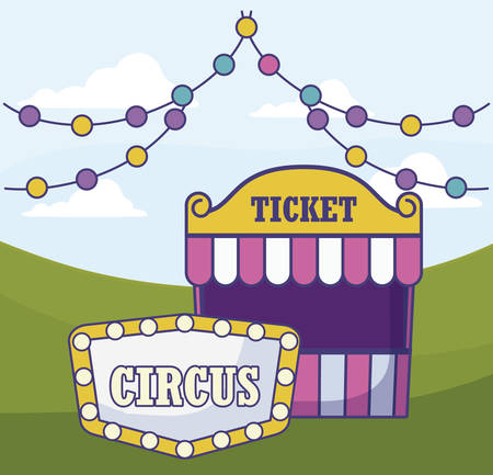 tent sale ticket with garlands vector illustration design
