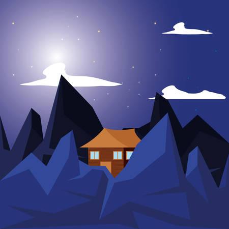 log cabin wooden in night landscape vector illustration design