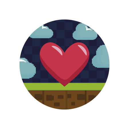 video game control with heart pixelate vector illustration design  イラスト・ベクター素材