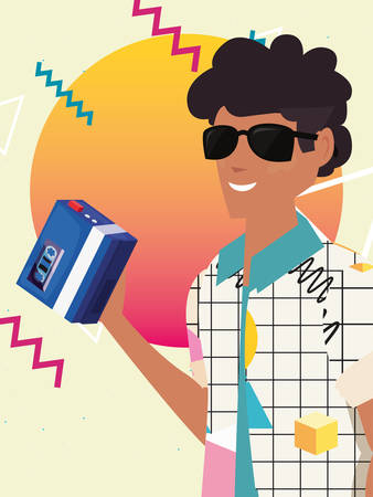 man with music memphis background retro 80s style vector illustration