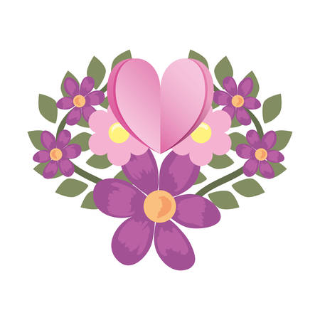 love romantic heart flowers decoration vector illustration