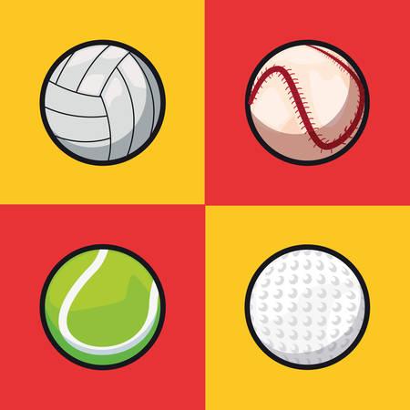 volleyball tennis golf baseball sport balls equipment set vector illustration