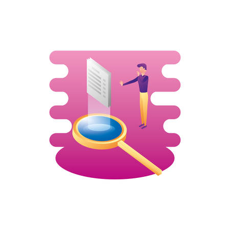 businessman worker with magnifying glass and documents vector illustration design Stock Illustratie