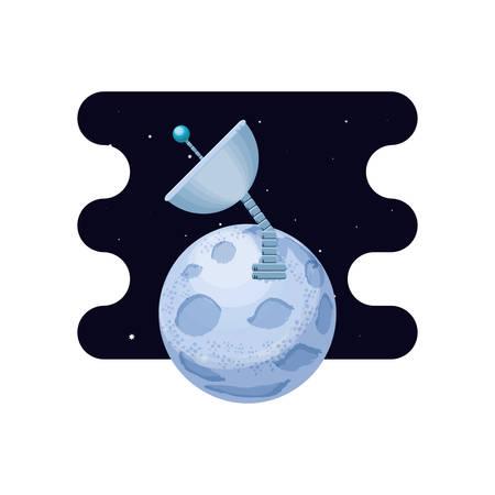 moon satellite with antena space scene vector illustration design