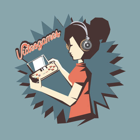 retro videogames design with avatar woman with headphones and playing videogames over blue background, colorful design. vector illustration