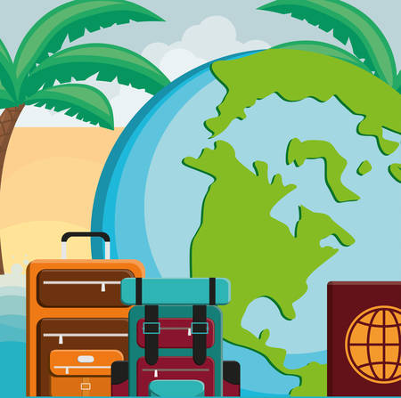 suitcase travel with world planet and passport vector illustration design