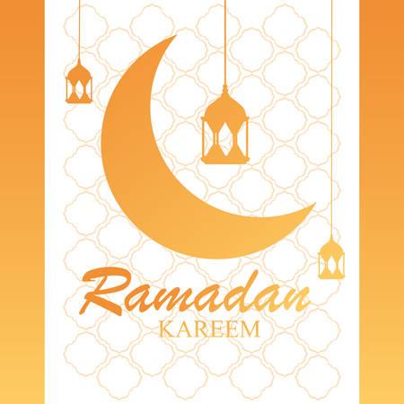 ramadan kareem moon traditional with lamps hanging vector illustration design