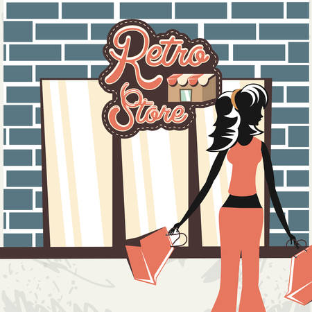 woman holding shopping bag retro store vector illustration Illustration