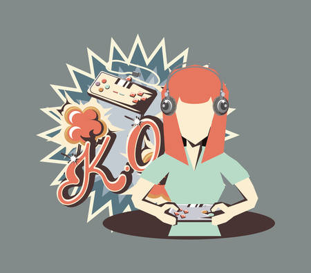 retro videogames design with avatar woman playing videogames over gray background, colorful design. vector illustration