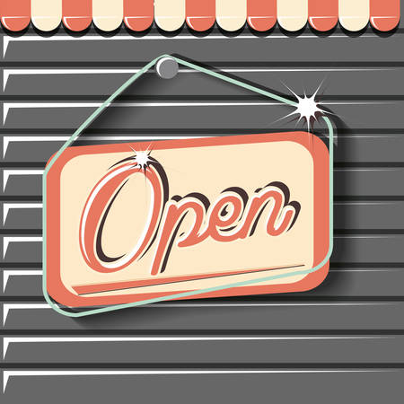 open board hanging retro store vector illustration