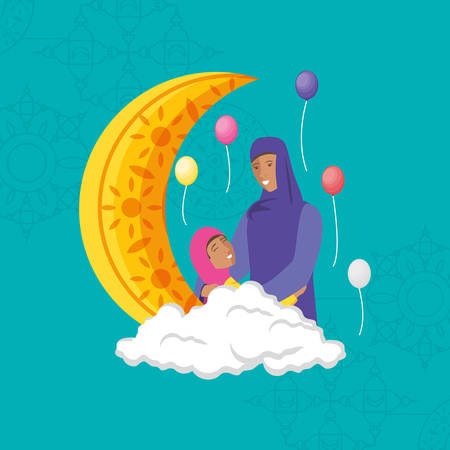 islamic mother with daughter and moon vector illustration design