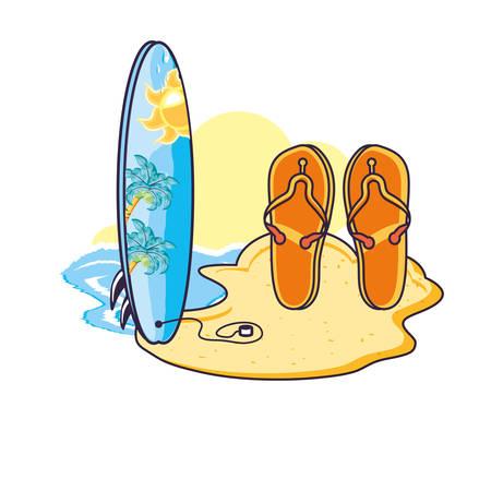 surfboard sport in the beach with flip flops vector illustration design