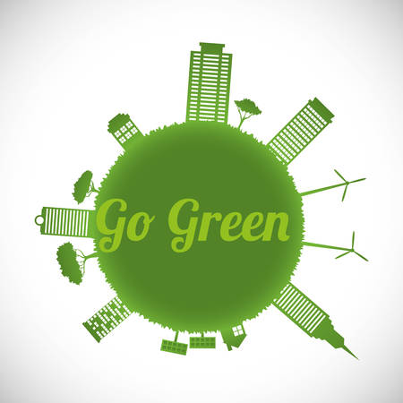 Go green digital design, vector illustration eps 10. Çizim