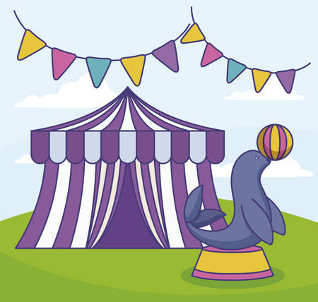 circus tent with seal and garlands vector illustration design