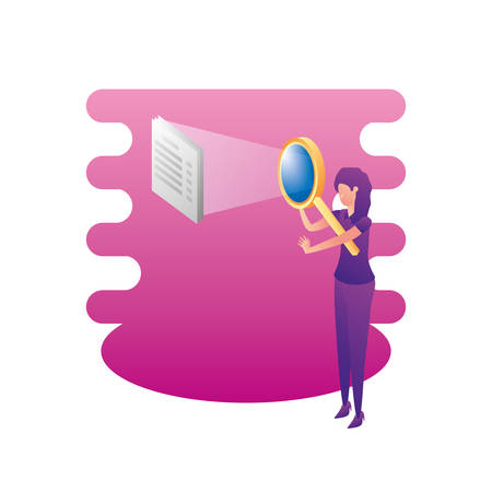 businesswoman with magnifying glass and documents vector illustration design