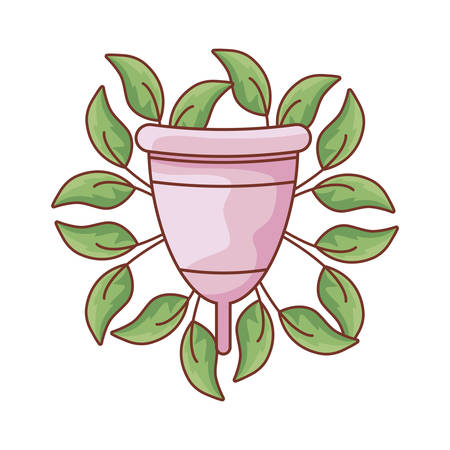 menstrual cup female with natural leafs vector illustration design