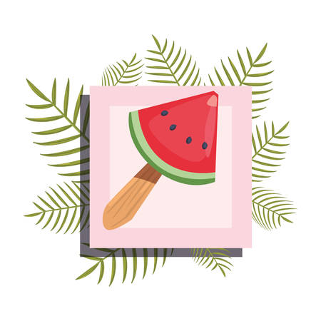 summer time banner branches foliage watermelon vector illustration