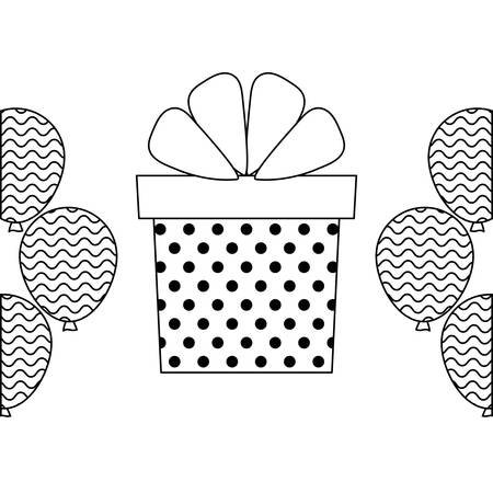 gift box present with balloons helium vector illustration design Ilustração