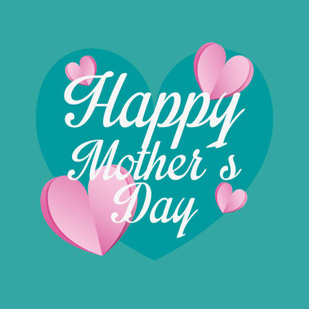 happy mothers day hearts love card vector illustration Çizim