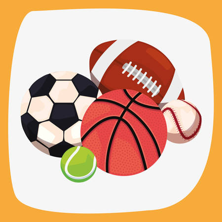 balls sport equipment soccer basketball tennis baseball rugby vector illustration design
