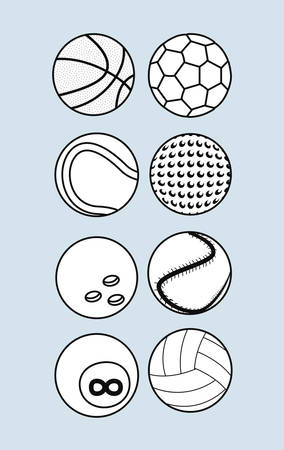sport balls equipment set outline soccer basketball tennis golf bowling billiard golf vector illustration  イラスト・ベクター素材