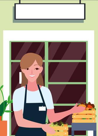 seller woman farm products shop front vector illustration Illustration