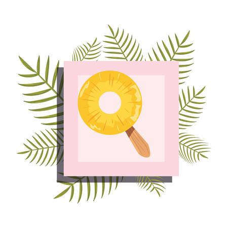 summer time banner branches foliage pineapple vector illustration Иллюстрация