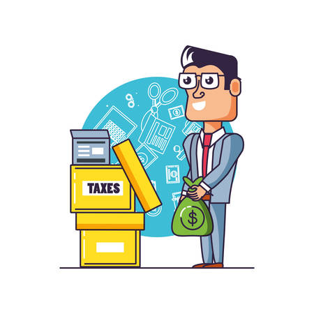 tax day with businessman and set icons vector illustration design Ilustrace