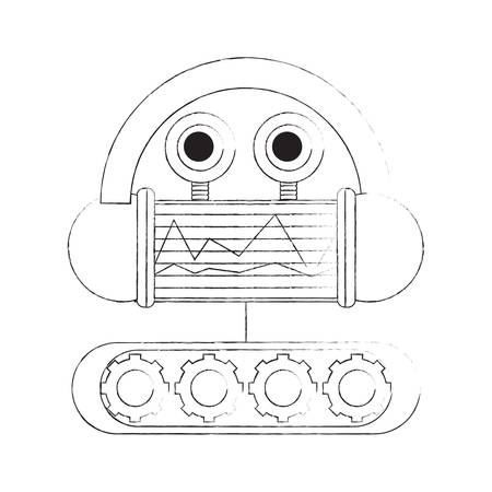 cartoon robot icon over white background black and white design vector illustration 일러스트