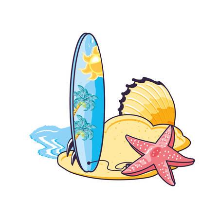 surfboard sport in the beach with starfish vector illustration design Illustration