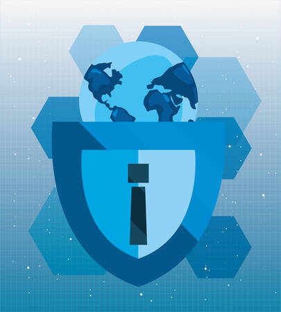 world shield warning cybersecurity data protection vector illustration