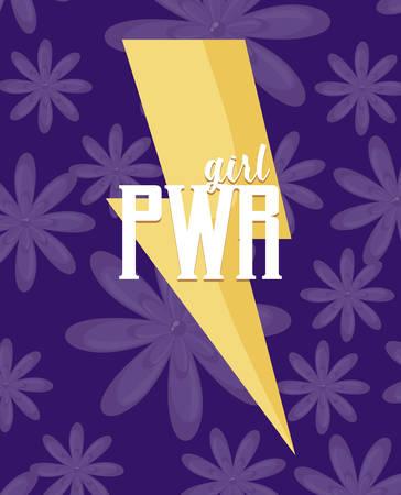 girl power celebration card with thunderbolt vector illustration design